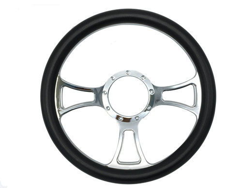 14 Inch Diameter Quick Release Steering Wheel With Leather Half Wrap Design